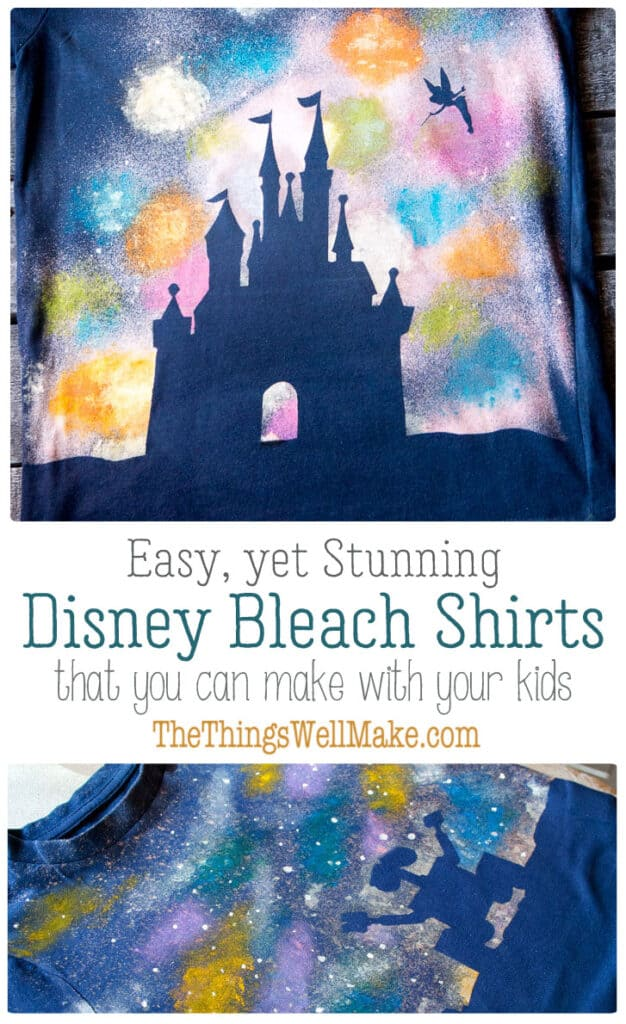 How to make a quick and easy galaxy Wall-E t-shirt, a fun bleach spray shirt that's embellished with fabric paints to make a simple yet stunning design. #thethingswellmake #MIY #walle #bleach #tshirt #disney #crafts #kids #disneyprincess #fireworks #painting #paintingclothes #disneycastle #silhouette #tinkerbell #silhouettecameo #freezerpaper #silhouetteprojects
