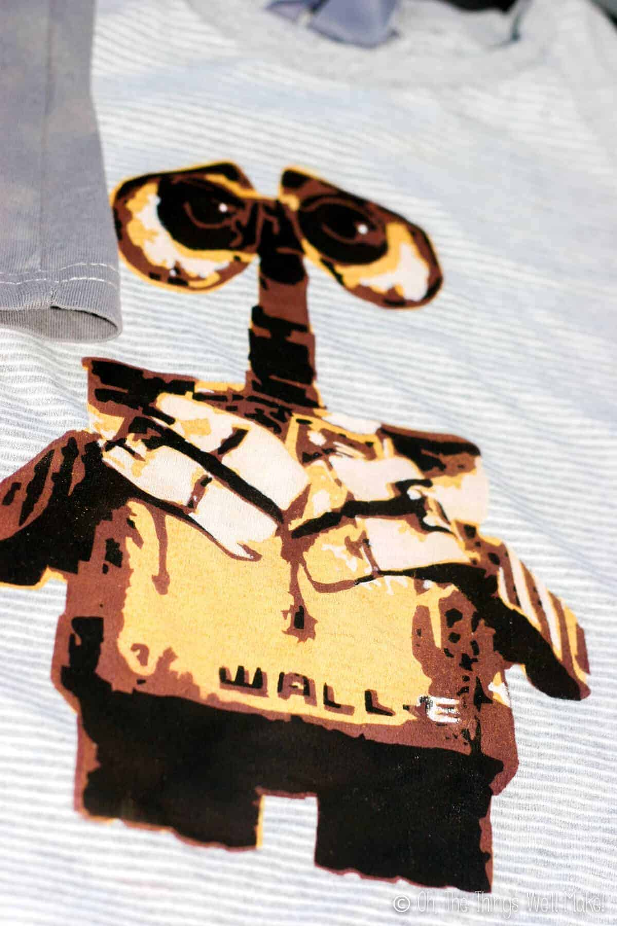 finished Wall-E stencil design on t-shirt