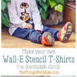 You can make fun and professional looking Wall-E and Eve t-shirts with these stencils, some freezer paper, and some fabric paints. #thethingswellmake #MIY #walle #eve #disney #stencils #tshirts #fabricpaint #crafts #kids #painting #paintingclothes #silhouettecameo #freezerpaper #silhouetteprojects