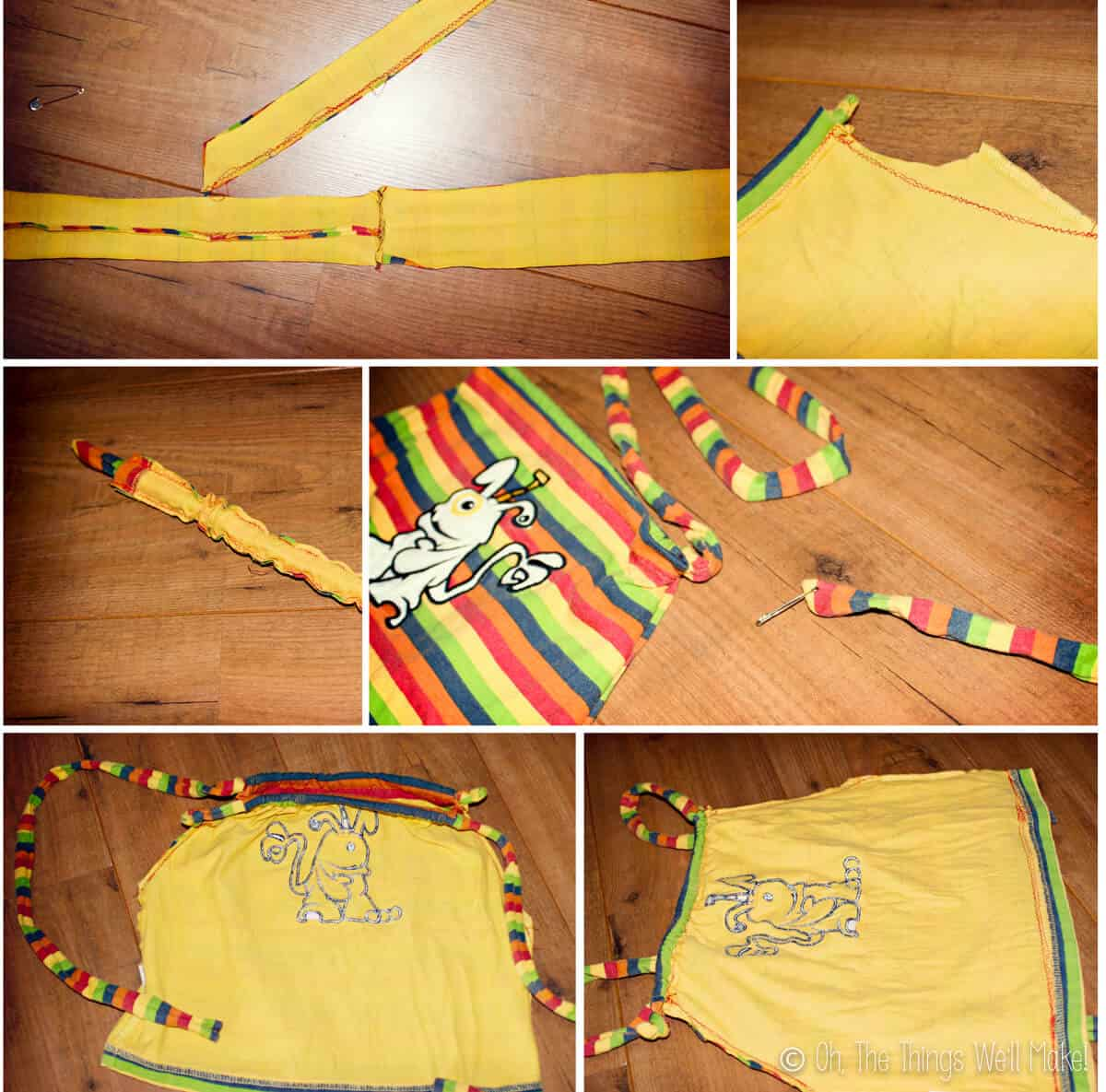 A photo collage showing the steps to making a t-shirt drawstring backpack.