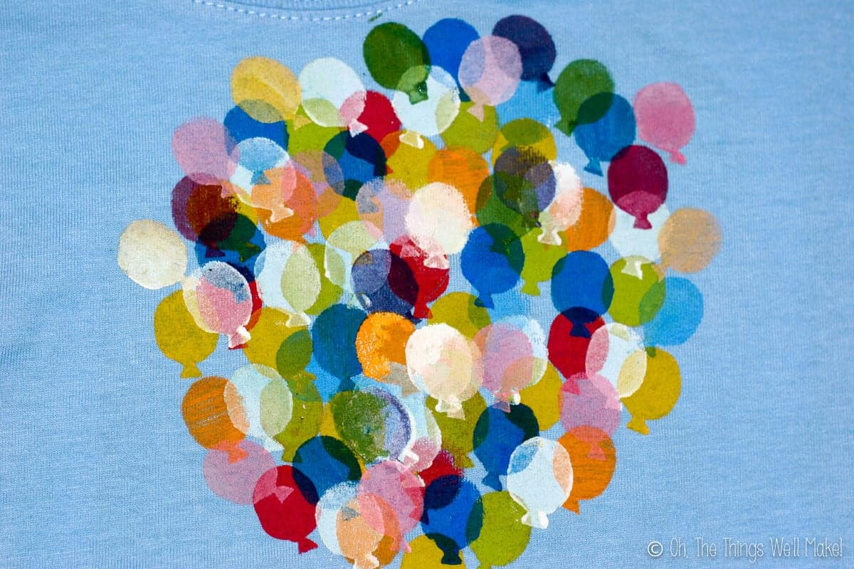 stamped balloons in numerous colors