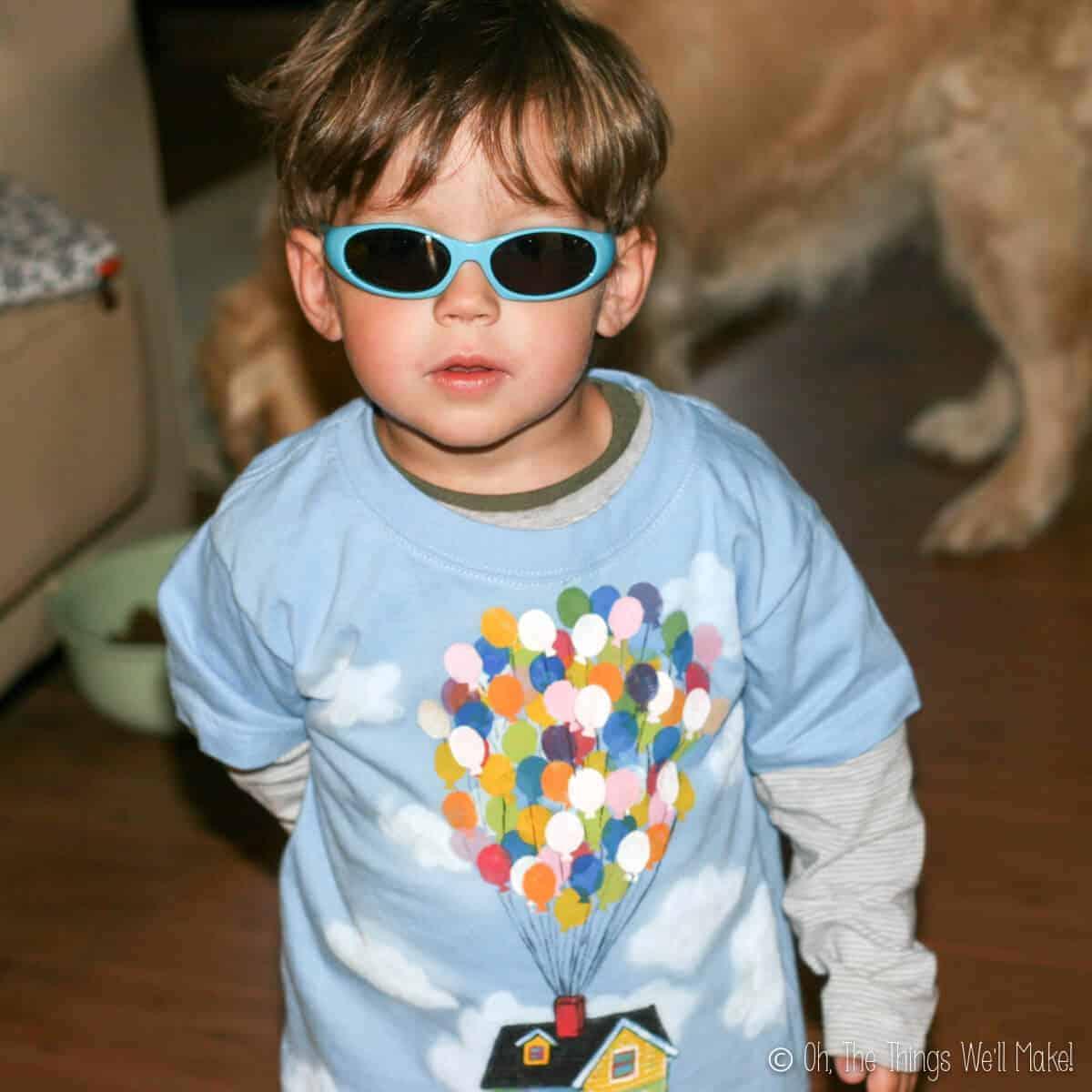 Boy wearing homemade Up balloons t-shirt