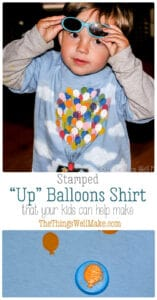 This fun Up house balloons shirt is made with a homemade craft foam stamp and is so easy even a toddler can help you make it. #thethingswellmake #miy #up #balloons #stamp #pixarup #disney #pixar #disneypixar #upballoons #stamping #kidscrafts #kidsclothes #painting #paintingtechniques