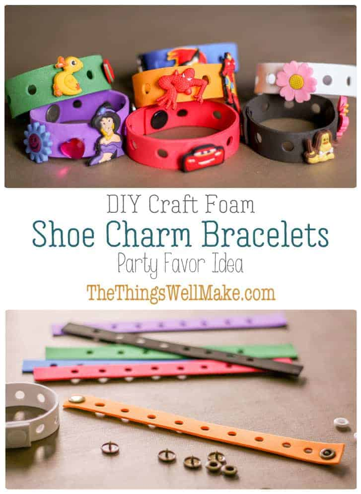 Make these DIY charm bracelets for shoe charms (Jibbitz) out of craft foam. They're easy to make and are perfect for party favors. #thethingswellmake #MIY #Crocs #Jibbitz #partyfavors #bracelets #charmbracelet #craftfoam #craftsforkids #charms #shoecharms #partycrafts