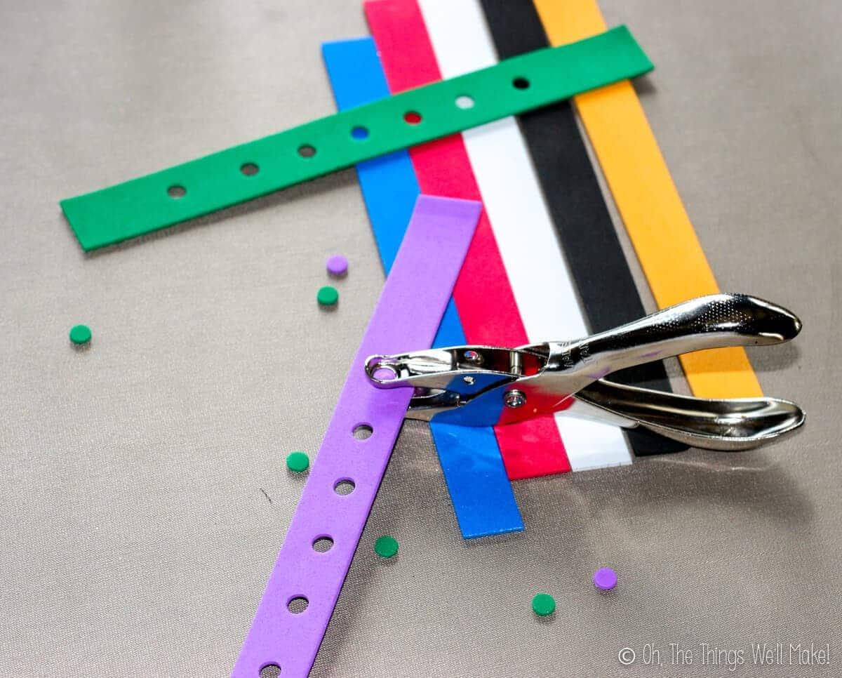 punching holes in craft foam strips