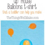 This fun Up house balloons shirt is made with a homemade craft foam stamp, and is so easy even a toddler can help you make it.#up #balloons #stamp