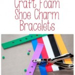 Make an easy DIY charm bracelet for shoe charms (Jibbitz) out of craft foam. They're easy to make and are perfect for party favors.