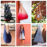 Photo collage of 6 bags showing several ways to make a t-shirt bag