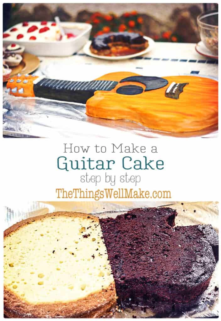 How to make a guitar cake, covered in fondant, step-by-step. With tips and tricks for how to decorate it, paint fondant, fix cracks, etc. #thethingswellmake #MIY #guitar #cake #fondant #cakedecorating #cakedecoratingtips #cakedecorating #cakedecoratingideas #cakedecoratingtutorials #cakedecoratingideas #guitarcake