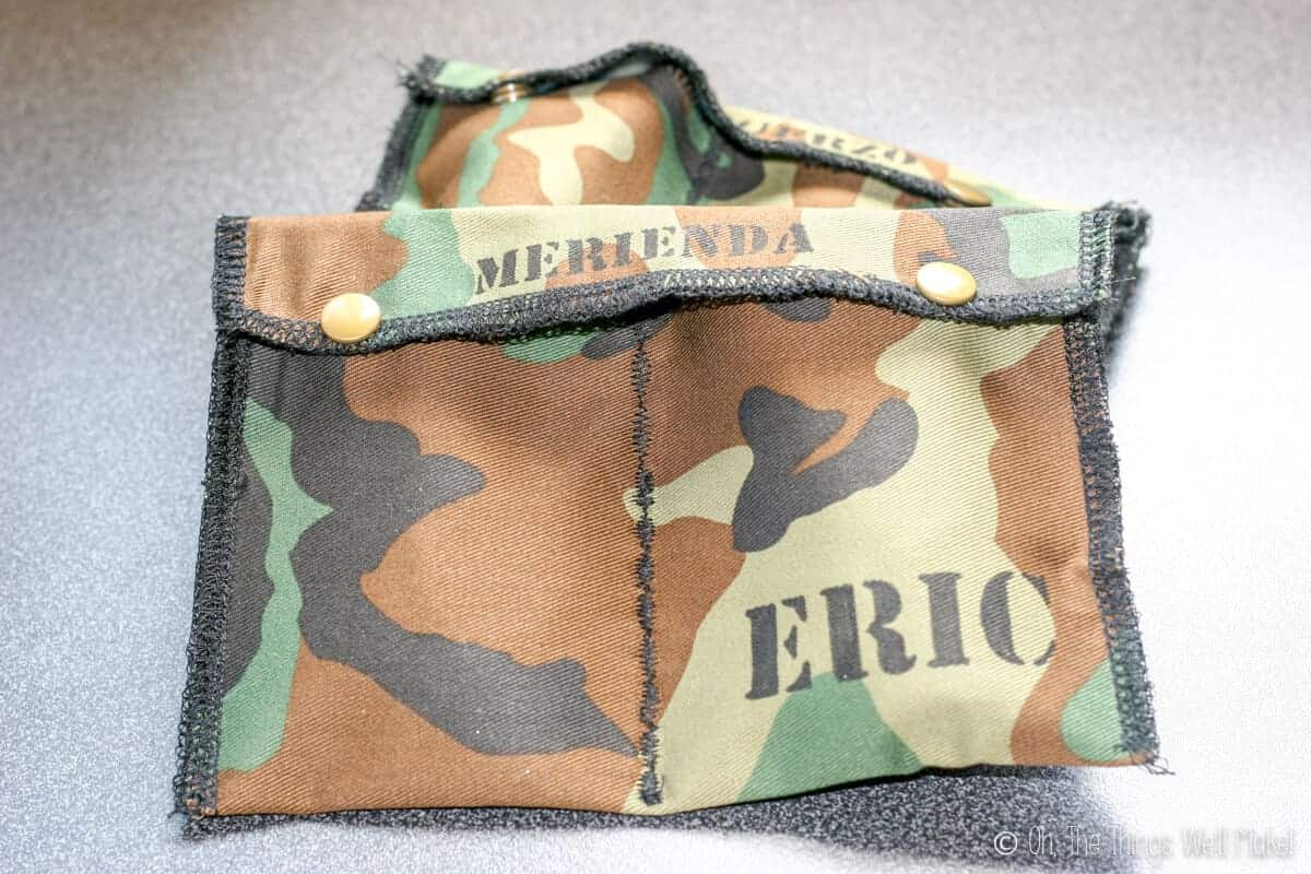 2 snack packs (snack envelopes) made from camouflage material