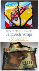 Ditch the plastic baggies and sew some reusable sandwich wraps and snack bags for traveling with sandwiches and other snacks. These are perfect for kid's lunches. #thethingswellmake #miy #sandwich #snackpack #sandwichwrap #lunchwrap #reuse #reusereducerecycle #reuserecycle #reducewaste #frugalliving #frugal #frugallivingideas