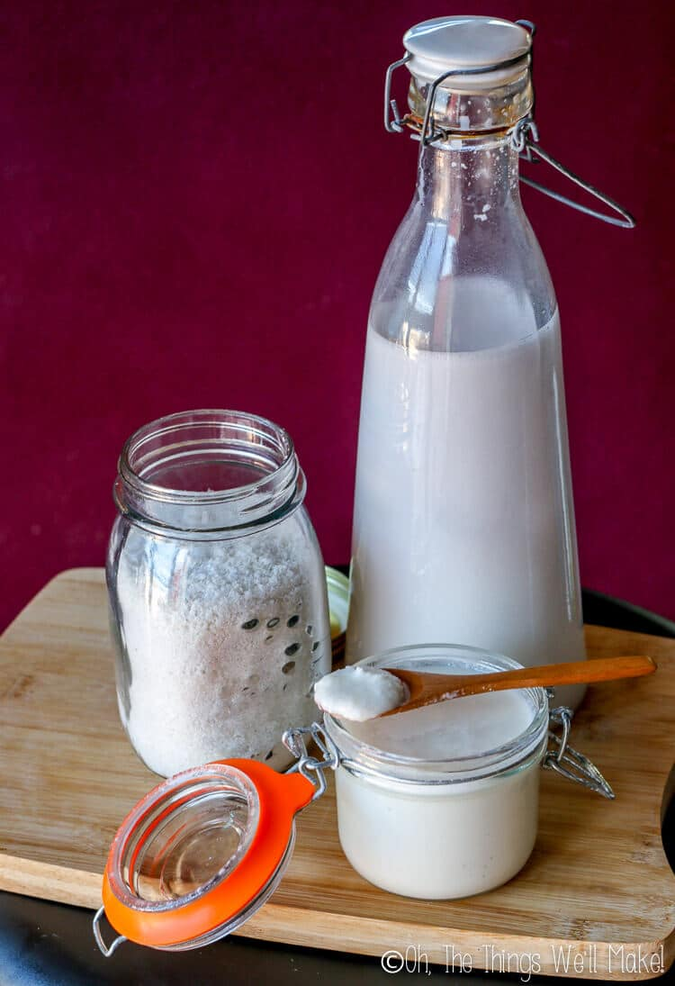 Homemade coconut milk, coconut flour, and coconut butter