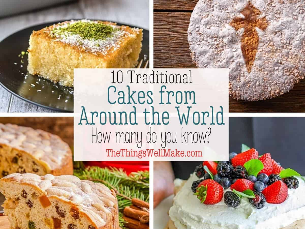 Collage of 4 different traditional cakes from around the world