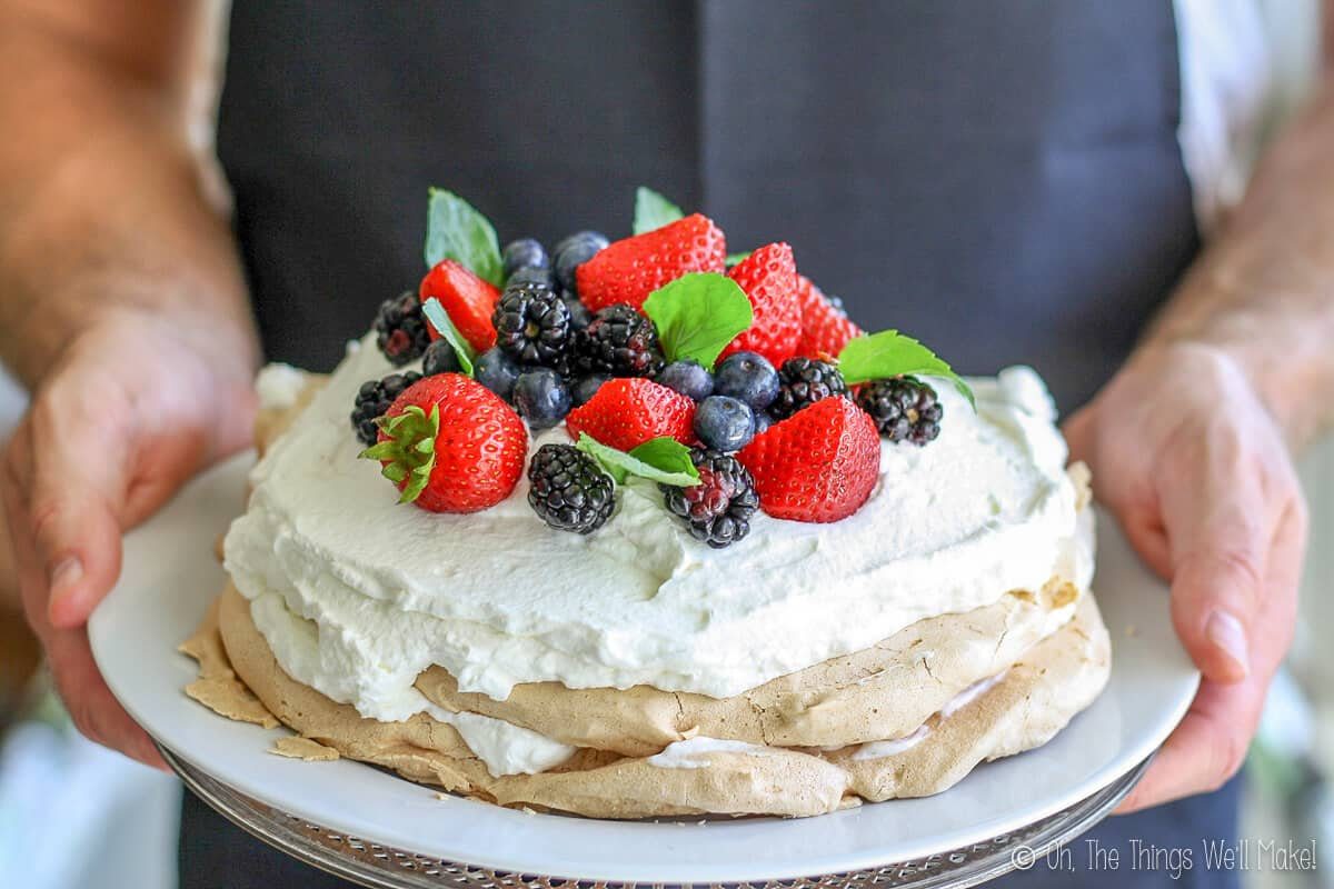 Hands holding a plate of pavlova. White icing on meringue decorated with red strawberries, blueberries, and black raspberries.