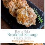 Homemade sausage biscuits are a tasty treat, especially when you know how to make sausage patties. They are super simple to make, and you can make them ahead and freeze them to have them ready at all times. #sausage #biscuits