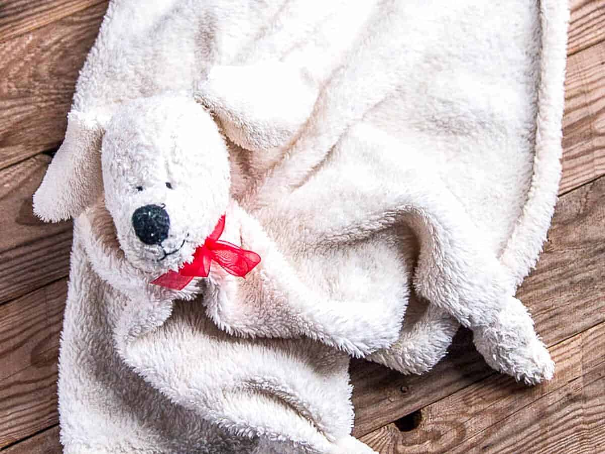 a super cute baby binkie or security blanket that looks like a puppy