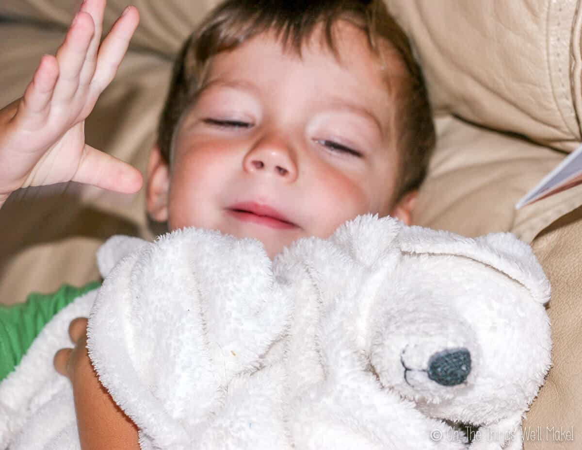 A young boy holding a white fluffy blanket with a puppy head on it.