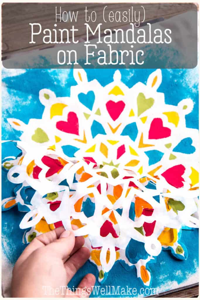 Learn to paint professional-looking colorful geometric designs using freezer paper. You don't need artistic abilities to paint these mandalas on fabric, and even kids love this project because the results are impressive. #fabricpaint #mandalas #thethingswellmake #miy #kidsprojects
