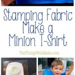 Make a minion t-shirt stamping fabric with paints using homemade craft foam stamps. My son loves this technique because he can help make his own clothes.