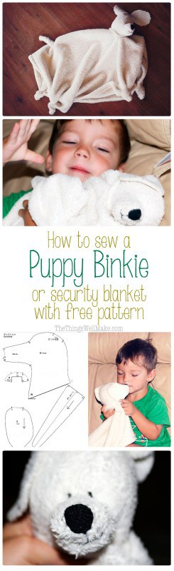 Learn to sew a super cute baby binkie or security blanket that looks like a puppy with free pattern and instructions.