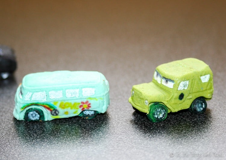Sarge and Fillmore of the Cars movies made from fondant.