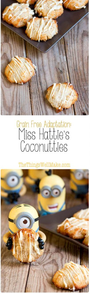 In Despicable Me, Miss Hattie's Coconutties were Vector's favorite cookies. They're a mix between white chocolate macadamia cookies and coconut macaroons.