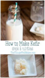 Milk kefir can be made with a variety of milks (from animals and vegetables.) It's easy to make and can be used in a number of ways. Learn how to make kefir at home and benefit from this probiotic beverage. #thethingswellmake #miy #kefir #probiotics #guthealth #homemadekefir #kefirrecipes #fermenting #traditionalrecipes #fermentedfoods #dairyrecipes