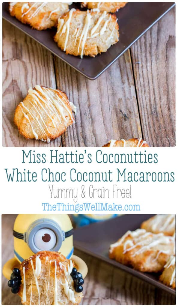 In Despicable Me, Miss Hattie's Coconutties were Vector's favorite cookies. Make them yourself. They're a mix between white chocolate macadamia cookies and coconut macaroons, and they're delicious! #thethingswellmake #miy #coconut #coconutrecipes #coconutties #despicableme #grainfree #glutenfree #healthycookies #healthydesserts #dessertrecipes #coconutdesserts
