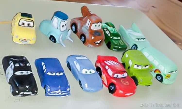 11 different cars from the Disney Pixar Cars movies made from fondant