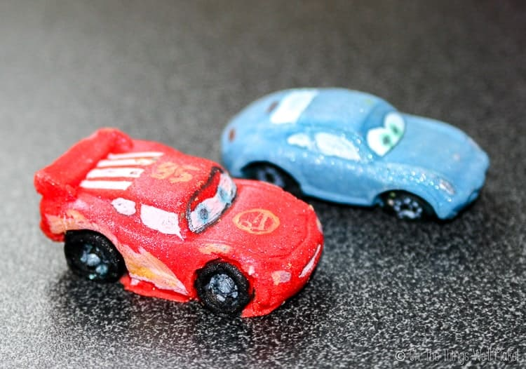 Sally and Lightning McQueen made from fondant