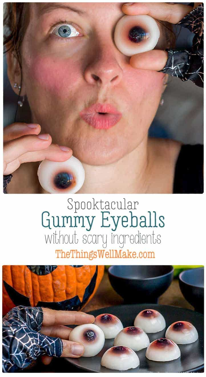 Looking for a healthier Halloween treat? Learn how to make gummy eyeballs, paleo style, using real food (not so spooky) ingredients. #thethingswellmake #miy #gummy #eyeballs #Halloween #halloweenrecipes #halloweenfood #spooky #healthykidssnack #healthyrecipes #halthysnacks #healthyeating #snacks #gelatin #coconutmilk #blueberries
