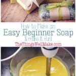 Making soap isn't difficult. This quick and easy, basic beginner soap recipe has a long working time, perfect for beginners. It also comes with fun ideas for personalizing it by adding exfoliants, essential oils, etc. #thethingswellmake #miy #soap #soapmaking