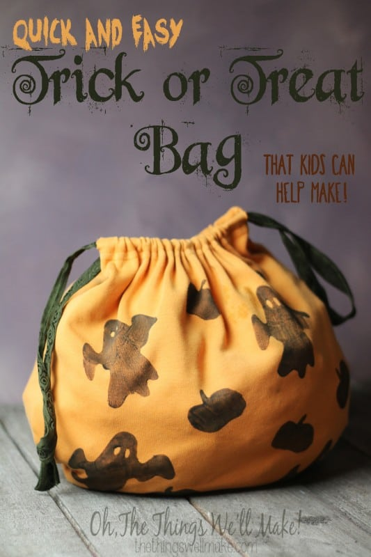 Make a Trick or Treat Bag: T-shirt Upcycle; Only One Seam! - Oh, The Things We'll Make!