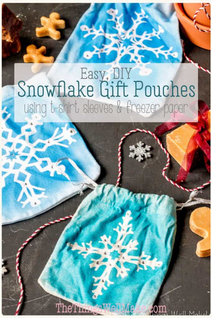 Save the waste of wrapping paper by using reusable gift pouches. These beautiful snowflake gift pouches are easily made from recycled t-shirt sleeves. They can also be used as party favors for a Frozen themed party. This is an easy project for both kids and adults! #thethingswellmake #miy #upcycle #christmas #snowflakes #giftwrapping #gifts #pouch #giftideas #freezerpaper #frozen #partyfavors #frozenparty #sewingbag #upcycledclothing #embellish #recycledclothes
