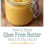 With its high smoke point, ghee is great for frying and for using in paleo recipes. Learn how to make ghee from butter quickly and easily. #ghee #butter #clarifiedbutter #paleo