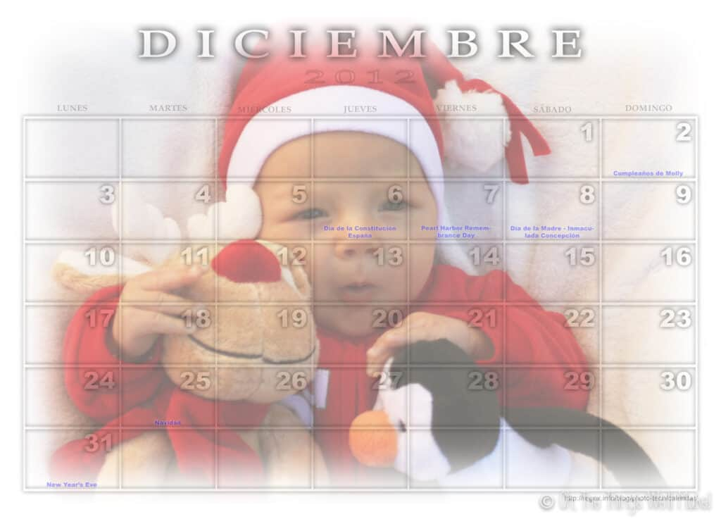 A December calendar with a baby's photo dressed like Santa Claus and with a reindeer and penguin stuffed animals.
