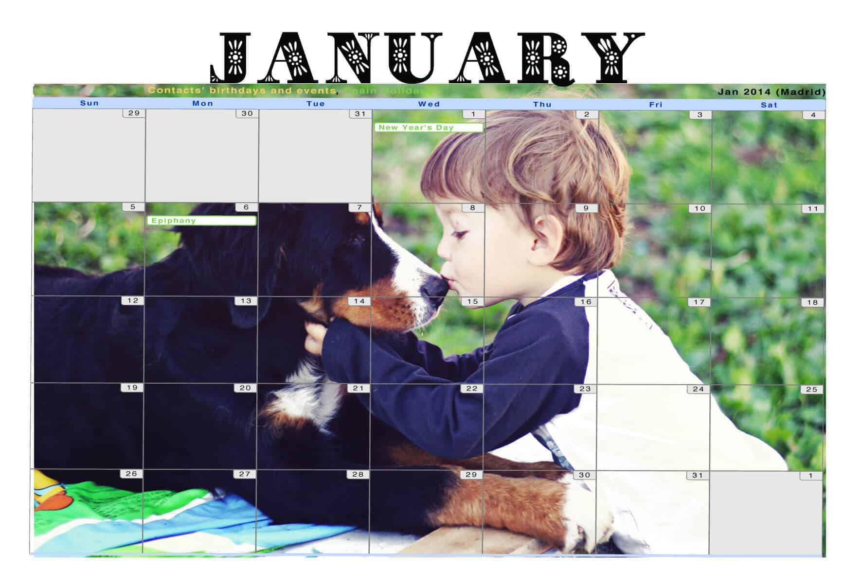 a January Google calendar with a background image of a boy kissing a dog.