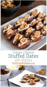 Quick, simple, yet elegant, these cheese and walnut stuffed dates are the perfect addition to your holiday appetizer lineup. #dates #appetizers #horsdoeuvres