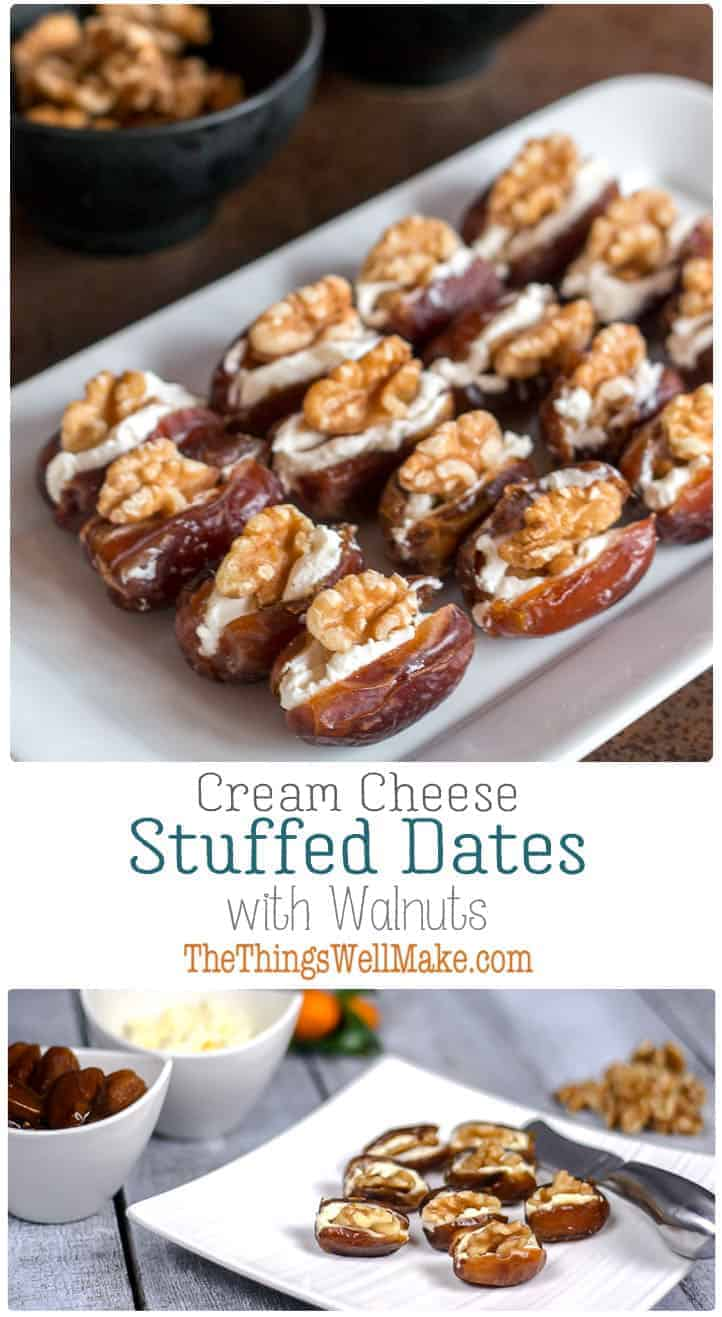 Quick, simple, yet elegant, these cream cheese stuffed dates with walnuts are highly customizable and are the perfect addition to your holiday appetizer lineup. #dates #appetizers #horsdoeuvres