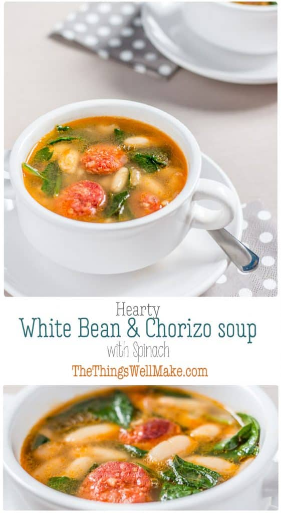 The perfect, hearty soup for a cold, rainy day, this white bean and chorizo soup with spinach is a flavorful comfort food that you'll want to make again and again. #chorizo #beansoup #fromscratch #whitebeansoup #heartysoups #soups #healthysoups #fallrecipes #spinach