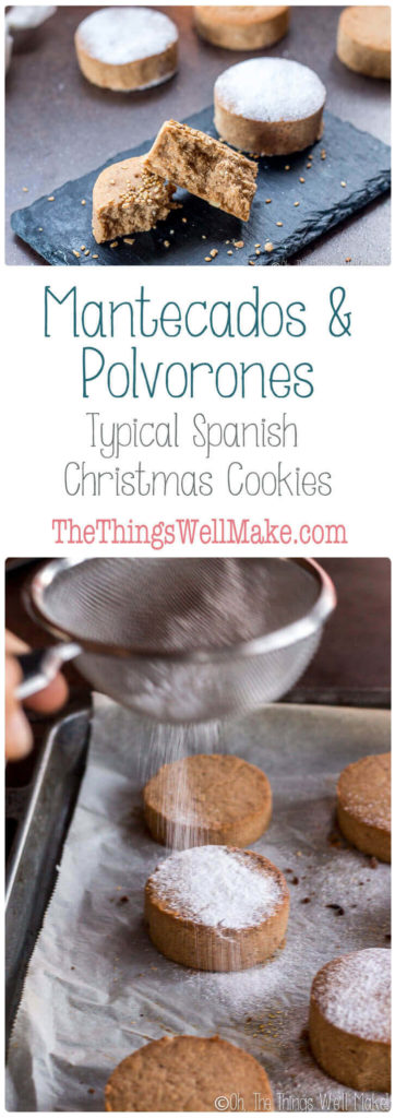 Collage of pictures of mantecados and polvorones.