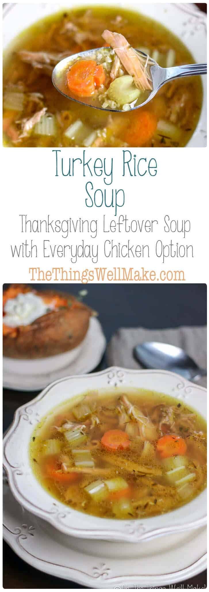 Don't throw away the skin, bones and leftover turkey pieces, make this turkey rice soup, the best Thanksgiving leftover soup idea! You can also do this any time of year with leftover chicken! #Thanksgiving #leftovers #soup