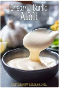The perfect accompaniment to fish, rice dishes, bread, or anything that could benefit from a creamy, garlic sauce, this easy aioli recipe will be ready in 5 minutes flat. If you've got more spare time, and are more adventurous, though, try the traditional vegan aioli. #thethingswellmake #miy #aioli #aiolisauce #garlic #garlicrecipes #sauces #condiments #homemadesauce #spanishrecipes #garlicmayonnaise #mayonnaiserecipes