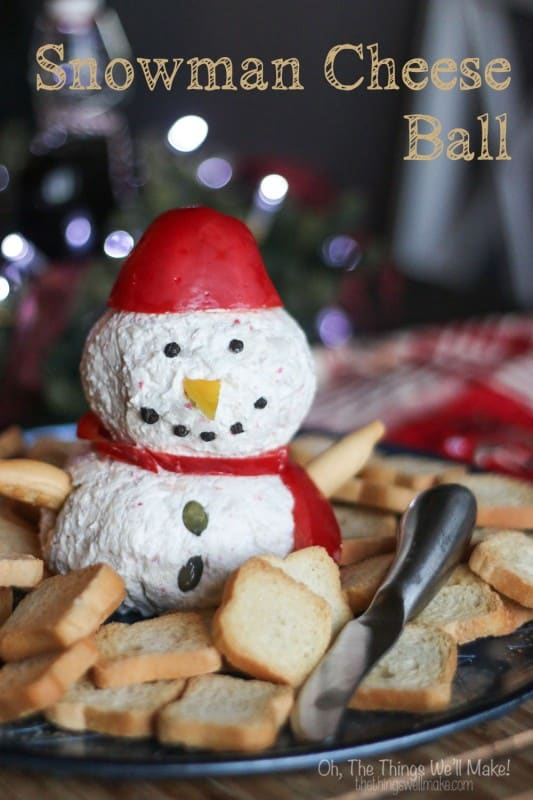 How to make a cute and festive snowman cheese ball, perfect for holiday entertaining. Make it ahead of time, and decorate it at the last minute!