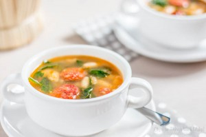 White Bean and Chorizo Soup with Spinach