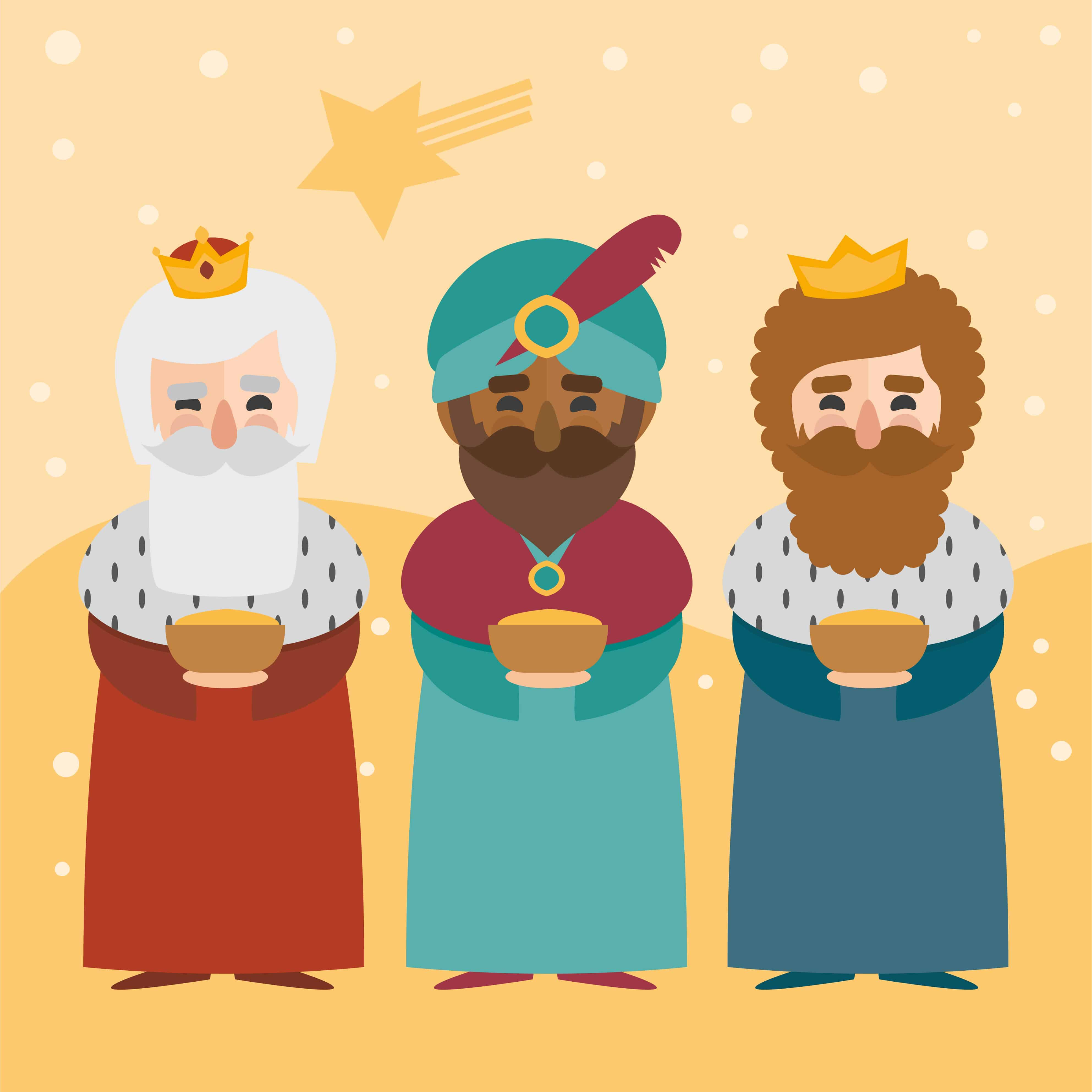 The three wise men, Melchior, Gaspar, and Balthasar