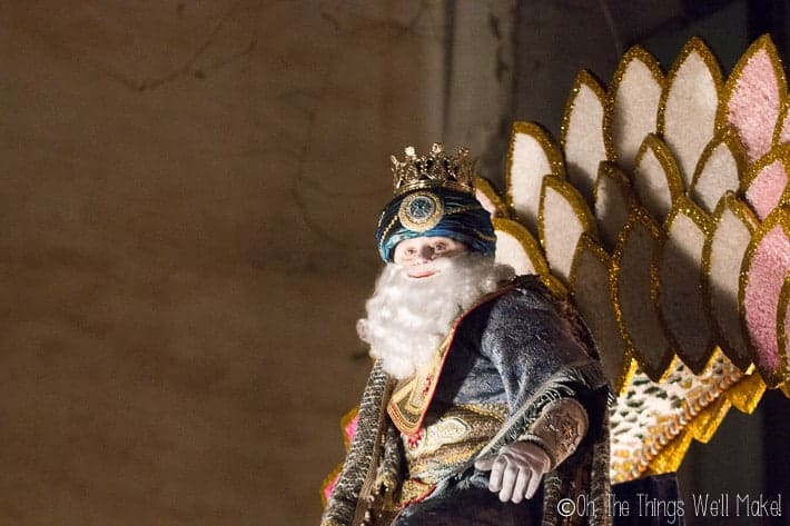 Melchior on a float in a parade in Spain