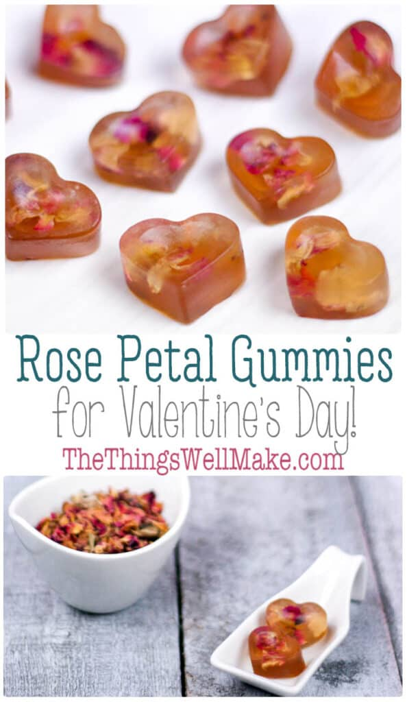 Roses are an edible flower, perfect for confecting Valentine's Day treats. These rose petal gummies are beautiful and healthier than candy alternatives. #thethingswellmake #miy #gummies #valentinesday #valentinesday #roses #homemadegummies #valentinesfood #rosesweets #rose #rosewater #gummycandy #gummy #valentinesdaytreats