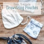 Easily make a drawstring bag in less than 10 minutes with one seam by upcycling old t-shirts and taking advantage of the hem. You can also make a pouch from the sleeves. #thethingswellmake #miy #upcycle #drawstring #bag #sewing #easy #easysewingprojects #easysewing #partyfavors #giftbags #drawstringbag #pouch