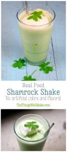 photos of homemade shamrock shake from the side and top view.